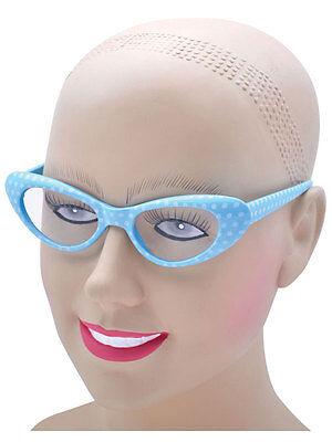 Womans 50s 60s Style Rock N Roll Dame Edna Glasses Polkadot Blue White Girls - Dame Edna Kostüm