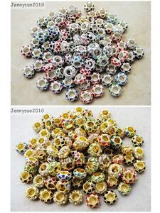 50pcs-Big-Hole-Crystal-Rhinestone-Pave-Rondelle-Spacer-Beads-Fit-European-Charm