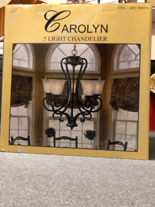 Carolyn 5 Light Chandelier Venetian Bronze Finish