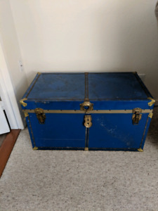 Blue and gold storage chest with removable rack