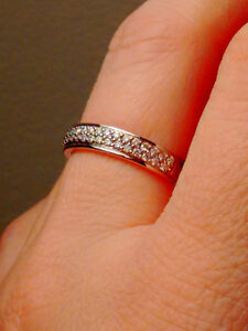 White Gold (Silver Colour) Diamond Wedding Band Small Ring