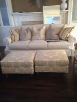 Beautiful cream 3-seater sofa with 2 matching ottomans
