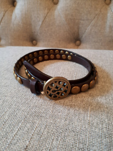 Coach brown leather belt with studs size small s