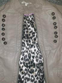 Military style leather jacket size 10-12