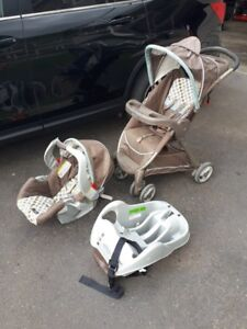 Car seat, stroller and base