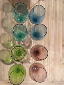 Beautiful Coloured Glass Wine Glasses