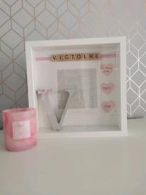 Personalised handmade initial newborn birth details deep box frame