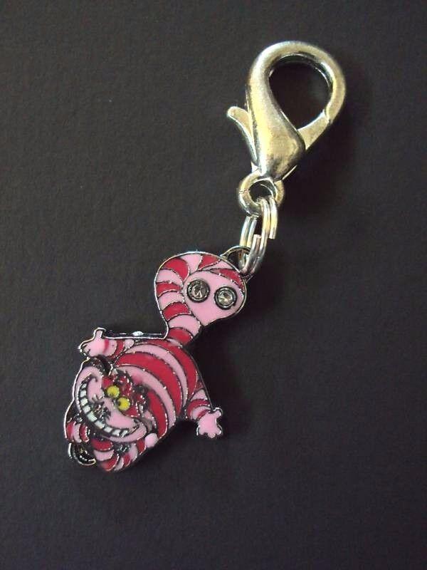 New Disney Alice Cheshire Cat Charm Zipper Pull Clip On Cart
