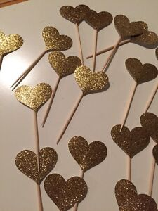 75 Glittery Gold Cupcake Toppers from ETSY