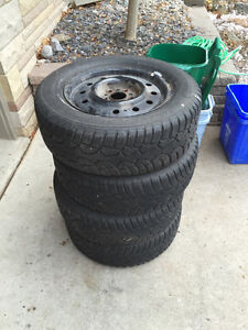 Snow tires on rims