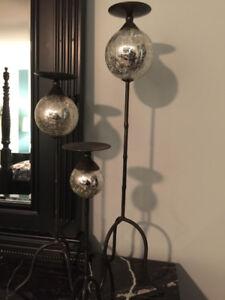 Crackled Mirror Candlestick Set