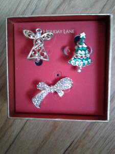 Macy's Holiday Lane Giftbox- 3 Sparkly Christmas Pins