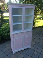 Vintage pink and white buffet and hutch