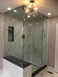 10mm Tempered Glass Shower Door & Mirror & Stairs