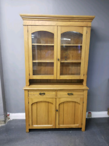Antique Dish cabinet  Pine flat to the wall