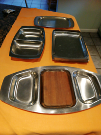 4 stainless Steel serving dishes