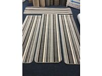 Blue and black and white Multi width and length hallway whipped runners