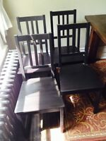 Black wood dining chairs