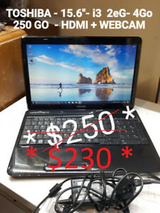 LAPTOP TOSHIBA - 4 GO -250 GO + HDMI+ WEBCAM