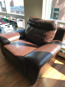 Genuine leather 3- seat recliner & non- reclining leather chair.