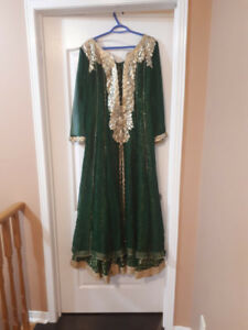 Forest green anarkali with hand made work