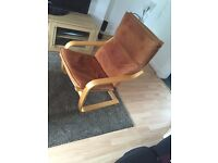 IKEA POANG chair and footstool tan leather