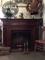 Wood Fireplace Mantel and Electric Insert, Solid Wood, Symphony