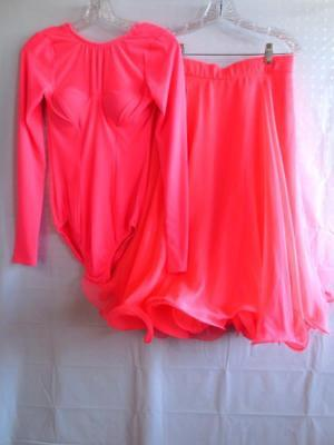 Custom 2 pc Ballroom Dance Outfit Neon Color Bodysuit & 3 Sheer Tiers over Skirt - Neon Outfit