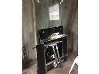 GLASS TOP DINING TABLE AND DESK. QUALITY POLISHED LEGS. SUITABLE FOR DELUXE GARDEN TABLE