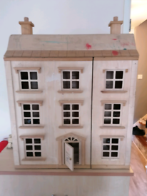 Traditional Wooden Dolls House and Furniture