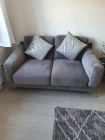 Grey sofa 2 seater and chair