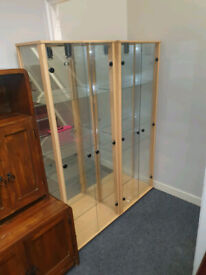 2 mirrored back show cabinets with lights inside £75 each