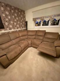 Suede recliner corner sofa