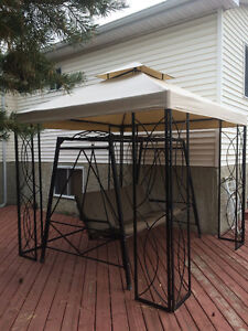 Gazebo with netting 8x8 and Swing 3-seater with 2 throw pillows