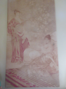 Antique fabric tapestry 1898 mounted on a frame