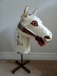 "HORSE HEAD SCULPTURE antique FOLK ART carved wood 24""  carousel"