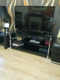 Black glass TV unit, TV stand £5