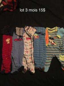 Beau Petit lot de pyjamas garcon 3 mois 15$
