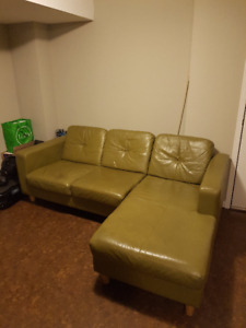 Green Leather Couch with Chaise Lounge