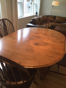Solid Oak Dining Table Set - Table + 5 Chairs