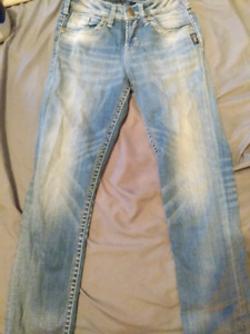 Silver Jean Capris High Waisted