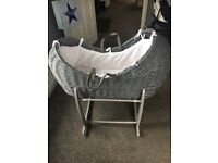 Claire de lune grey wicker Moses basket with stand