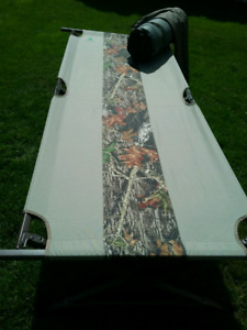 """Camouflage camp cot  with 3"""" microban  inflatable mattress"""