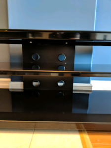 Sonax Black Glass & Wood Entertainment / TV Stand