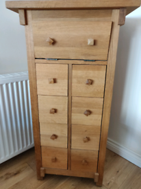 Solid Oak Apothecary slim cabinet