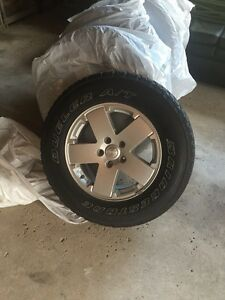 5 tires and rims off of 2012 Jeep Sahara in very good condition