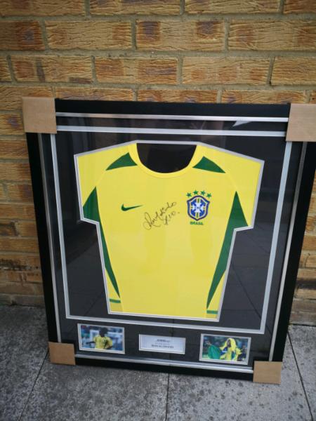 framed signed Ronaldinho Brazil football shirt from main dealer, used for sale  Romford, East London