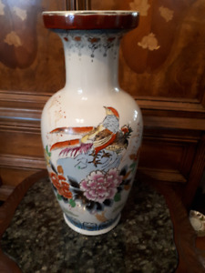 Asian vase with chrysanthemums and birds - 18.5 inches tall