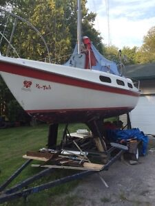Tanzer 22  its a deal trailer moter boat like new sails.
