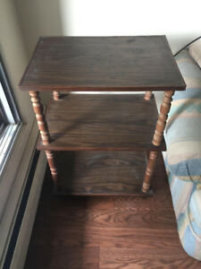 ONE   SOLID WOOD  VINTAGE TABLE WITH THREE SHELVES FOR SALE
